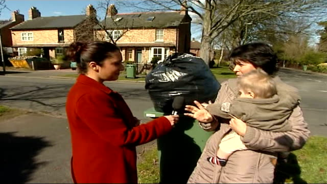 Rubbish collections could change ENGLAND Oxford EXT Reporter to camera as up to overflowing rubbish bin and interview Mar Puentes SOT most of the...