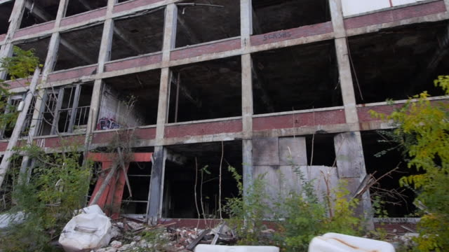 rubble and graffiti are all that remain about the shell of the packard auto plant built in the early 1900's production at the plant ceased by 1960... - abandoned stock videos and b-roll footage
