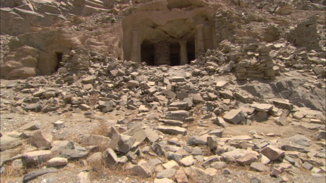 rubble litters the excavation site and entrances of the sikait emerald mines in egypt. - rubble stock videos and b-roll footage