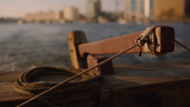 rudder of traditional dhow boat - dubai creek - tradition stock videos & royalty-free footage