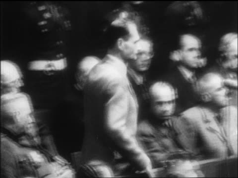 rudolf hess saying plea into microphone at war crimes trial / nuremberg / newsreel - war crimes trial stock videos and b-roll footage