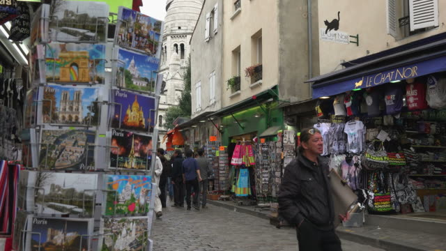 rue du mont cenis, montmartre, paris, france, europe - postcard stock videos and b-roll footage