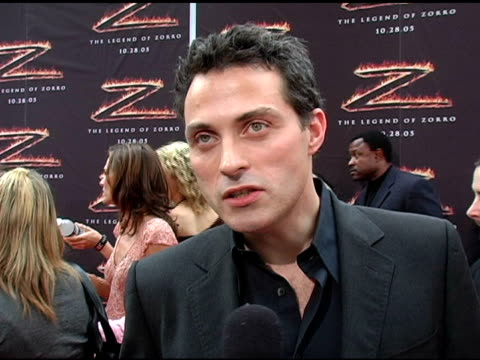 rufus sewell on what he enjoyed most about making the movie and what roles he would like to play in the future at the 'the legend of zorro' premiere... - orpheum theatre stock videos & royalty-free footage