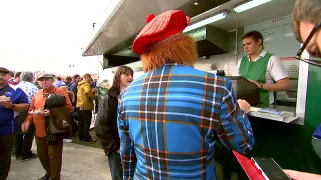 rugby world cup 2015 back view man in blue tartan suit tilt up men dressed in tartan and wearing bobble berets man wearing scottish flag and loch... - tartan video stock e b–roll