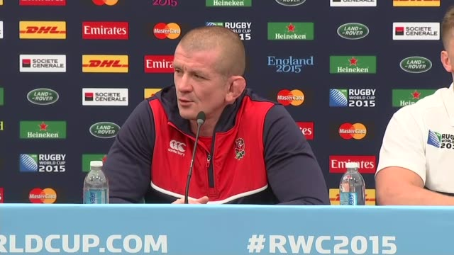 rugby world cup 2015 england vs wales match int graham rowntree press conference sot they're all big games / huge rivalry / neil jenkins press... - itv weekend lunchtime news点の映像素材/bロール