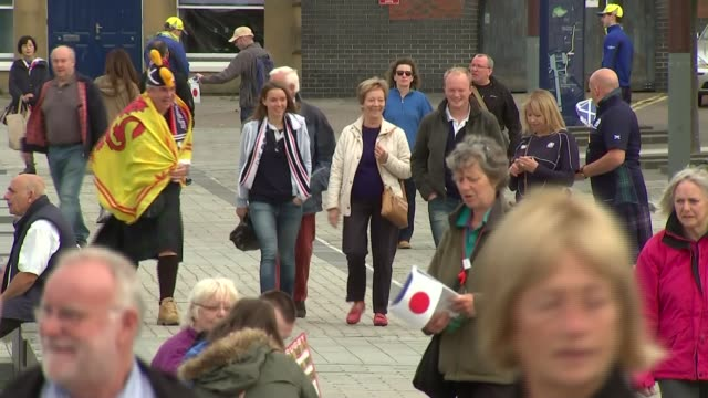 Rugby World Cup 2015 Fans arriving at Kingsholme stadium ahead of Japan v Scotland match ENGLAND Gloucester Kingsholme stadium EXT GVs Japanese and...
