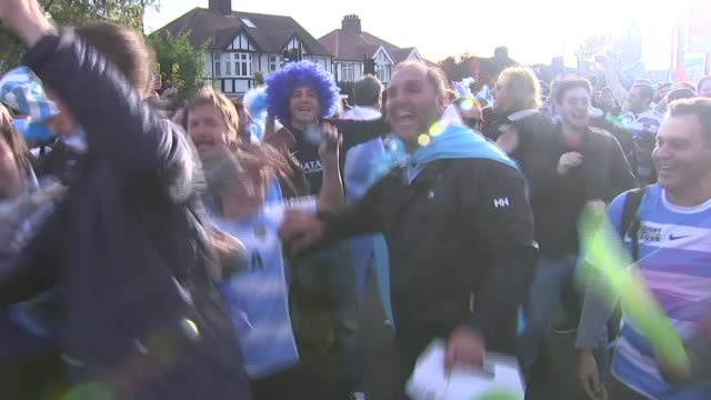 Rugby World Cup 2015 GVs of Australian and Argentina fans at semi final ENGLAND London EXT GVs Argentina fans cheering and chanting / GVs fans...