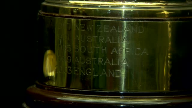 Rugby World Cup 2015 Home Nations' hopes ENGLAND London Twickeham Stadium Twickenham Museum INT Sir Clive Woodward and reporter looking at replica of...