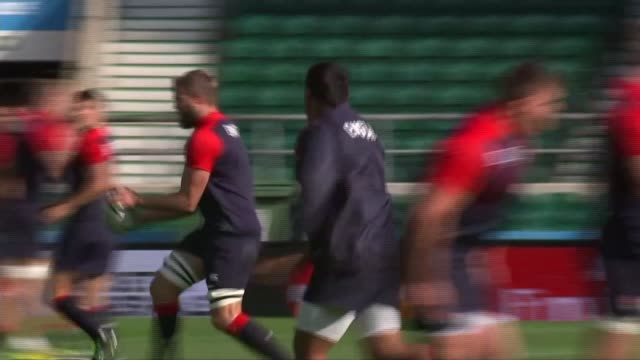 rugby world cup 2015: preview of england v australia; 25.9.2015 england: london: twickenham: ext various shots of england training session stuart... - australian national team stock videos & royalty-free footage