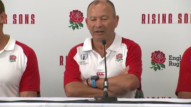 eddie jones press conference to announce england squad england bristol int eddie jones and other england coaches neal hatley scott wisemantel john... - john scott stock videos and b-roll footage