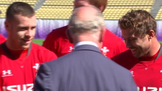 prince charles visits wales team in tokyo ahead of semi-final; japan: tokyo: chichibunomiya rugby stadium: ext prince charles, prince of wales... - minato ward stock videos & royalty-free footage