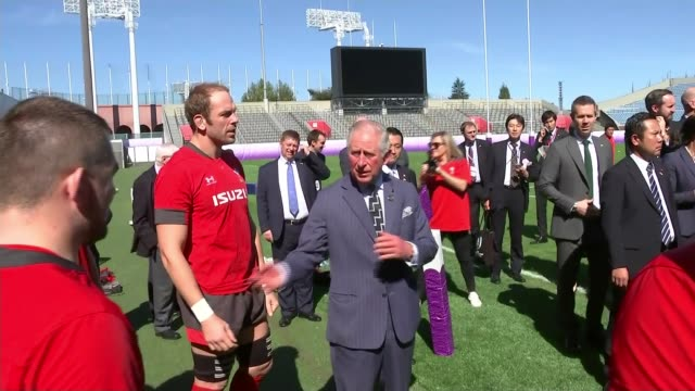 prince charles visits wales team in tokyo ahead of semifinal against south africa japan tokyo prince charles visits wales rugby team in tokyo ahead... - semifinal round stock videos & royalty-free footage