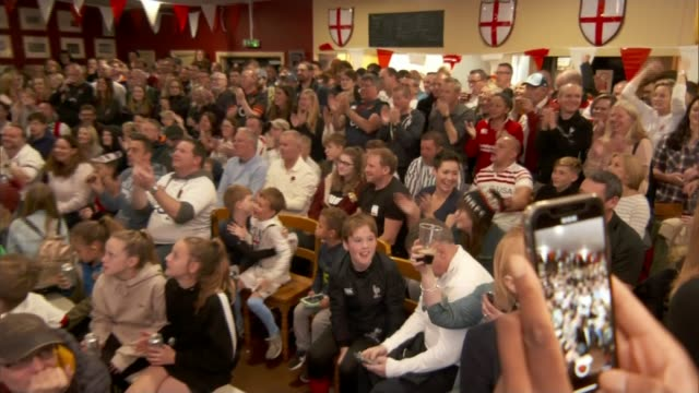 south africa beats england in final england hertfordshire harpenden england fans cheering at match screening - celebration stock videos & royalty-free footage