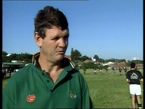 stockvideo's en b-roll-footage met preview itn african players on pitch practising rugby ms ditto cms ditto ms ditto cms morne du plessis intvwd sot we have to work out a lot of our... - 1995