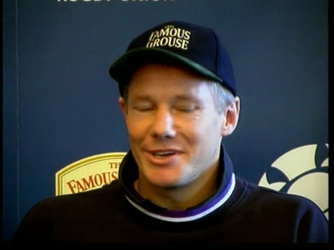 quarter finals preview scotland edinburgh murrayfield int john rutherford press conference sot talks of the problem of stopping jonah lomu - scotland stock videos & royalty-free footage