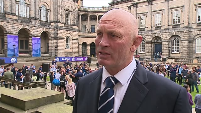 Rugby World Cup Scotland announce their World Cup squad Vern Cotter interview SOT / GVs players with their families