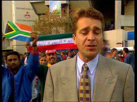 south africa beat australia in opening match; south africa: cape town: newlands stadium: cms scott i/c sot as sa fans shout sot behind him - south africa stock videos & royalty-free footage