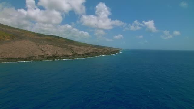 Rugged coastline of Montserrat Island in the Caribbean Sea.