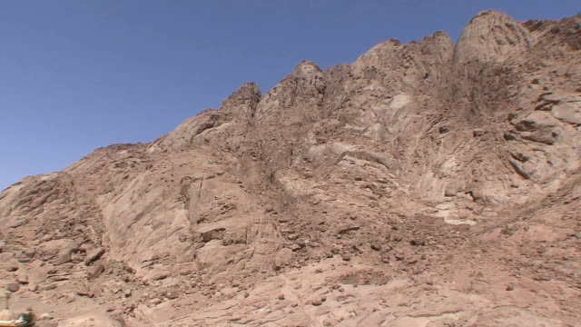 WS HA PAN TD Rugged mountain and rooftops of St Catherine's Monastery, Mount Sinai, Egypt