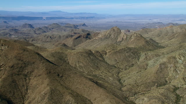 rugged mountain peaks in big bend national park, texas, with santa elena canyon in the distance. - basin and range province stock videos and b-roll footage