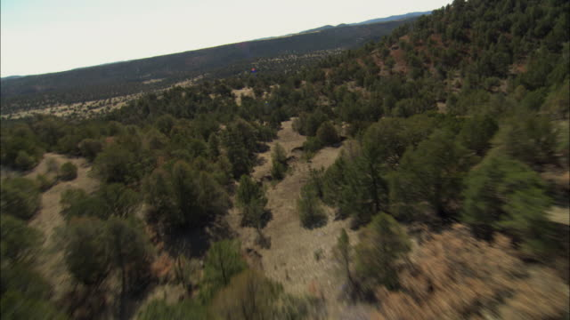 aerial rugged plain in semi-desert landscape with narrow, dry water channel, pinyon trees and brush / bonito lake, new mexico, usa - new mexico bildbanksvideor och videomaterial från bakom kulisserna