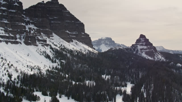 rugged slopes in the teton range - aerial - grand teton stock videos & royalty-free footage