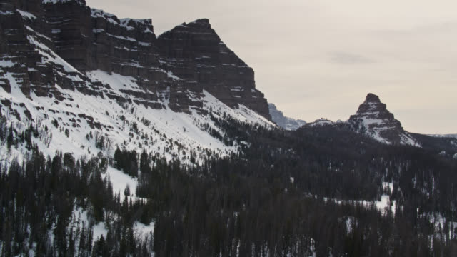 rugged winter scenery near grand teton np - aerial - grand teton stock videos & royalty-free footage