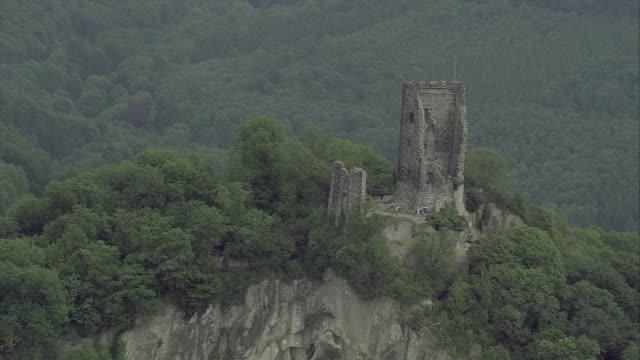 aerial ruin of drachenfels castle, north rhine-westphalia, germany - north rhine westphalia stock videos & royalty-free footage