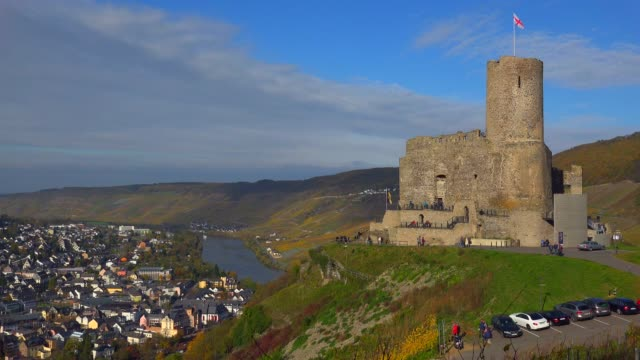 ruin of landshut castle above bernkastel-kues, moselle valley, rhineland-palatinate, germany, europe - german culture stock videos and b-roll footage