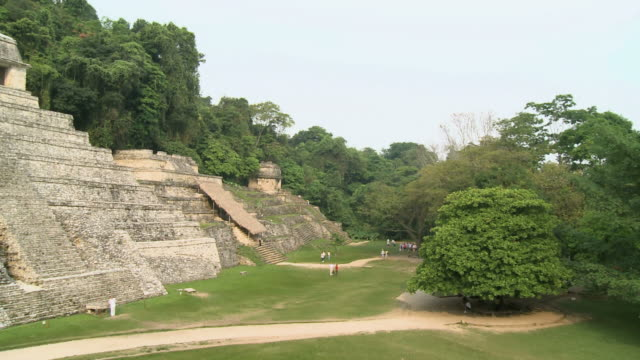 ws pan ruin of temple of maya in jungle / agua azul, palenque, rio bascan, chiapas, mexico - azul stock videos & royalty-free footage