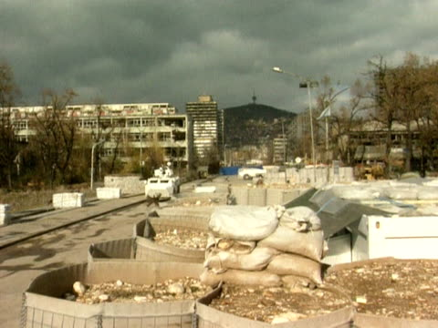 ruined apartment and fortified bridge grbavica district sarajevo 1 december 1994 - bosnia and hercegovina stock videos & royalty-free footage