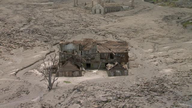 ruined building in caribbean village of plymouth. - pyroklastischer strom stock-videos und b-roll-filmmaterial