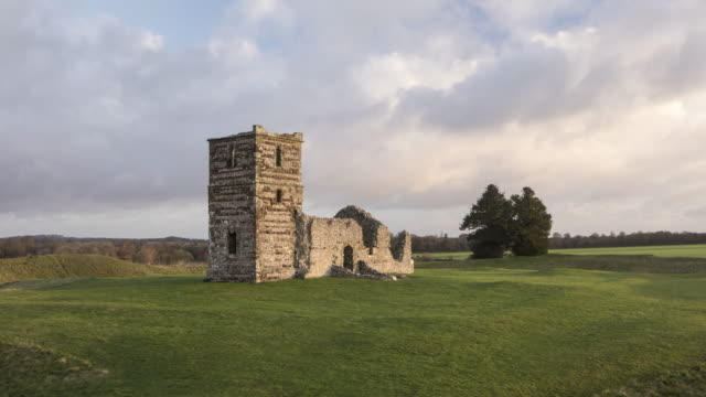 ruined church at knowlton in dorset, uk. - chapel stock videos & royalty-free footage