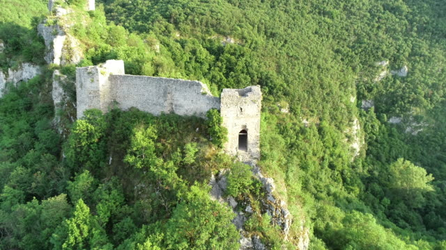 ruined medieval castle on top of the hill - old ruin stock videos & royalty-free footage