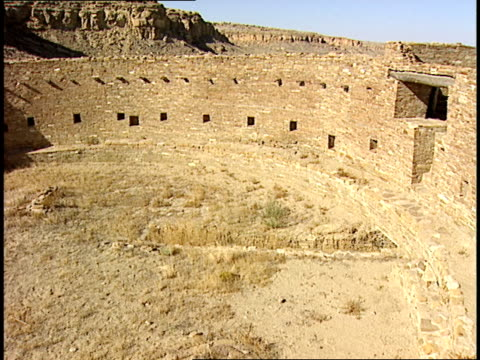 ruinous stone walls of the casa rinconada stand in chaco canyon, new mexico. - chaco canyon stock videos & royalty-free footage