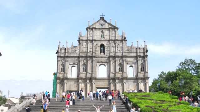 ruins church of st.paul's church in macau city china - macao flag stock videos & royalty-free footage