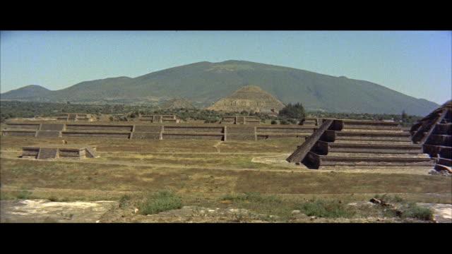 ms ruins near pyramids of mexico / mexico - anno 1957 video stock e b–roll