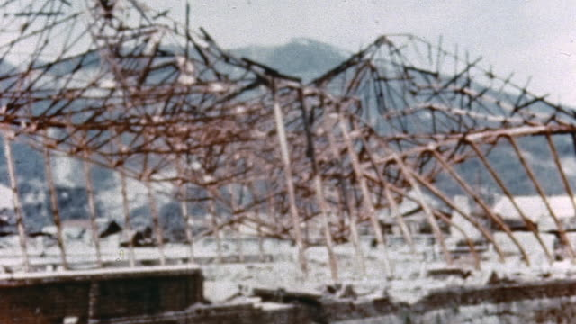 Ruins of a hangar at a bombedout airfield