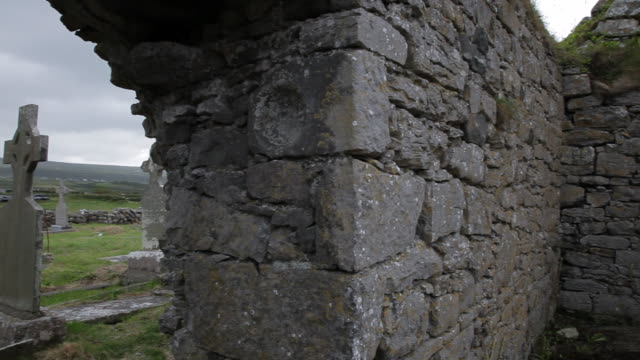 ws pan ruins of ancient cemetery / ireland - northern ireland stock videos & royalty-free footage