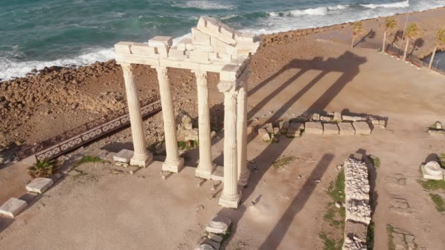 ruins of ancient temple of apollo in side, antalya, turkey - temple building stock videos & royalty-free footage