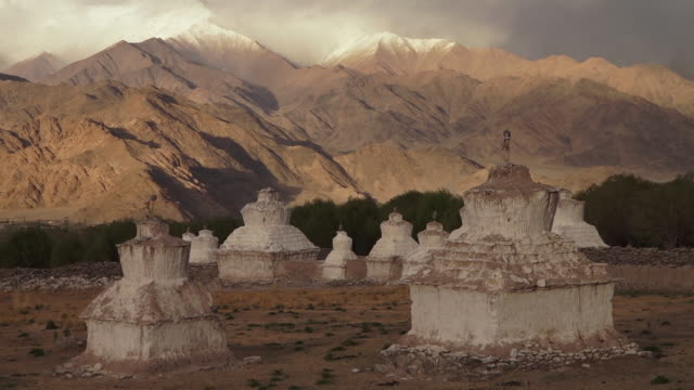 ruins of buddhist stupa, led, ladakh - stupa stock videos & royalty-free footage