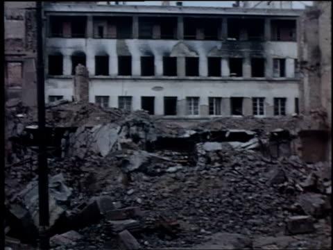 ruins of buildings destroyed by bombing / wiesbaden germany - postwar stock videos & royalty-free footage