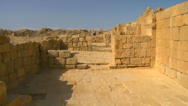 ms pan ruins of byzantine street / shivta, negev, israel  - byzantine stock videos & royalty-free footage