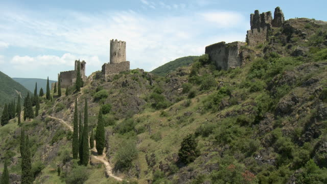 t/l ws ruins of chateaux de lastours in mountain landscape / lastours, france - circa 13th century stock videos and b-roll footage
