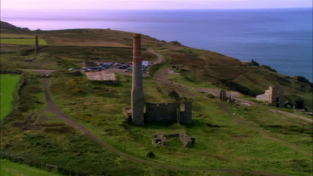 aerial, ruins of cornish tin mine, cornwall, england - tin mine stock videos & royalty-free footage