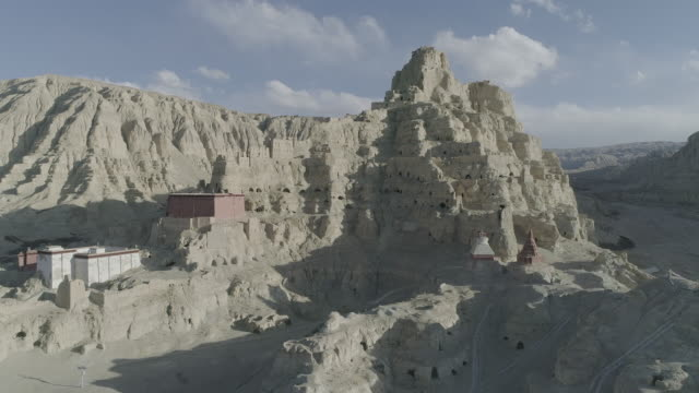 ruins of guge dynasty in tibet aerial view - tibet autonomous region stock videos & royalty-free footage