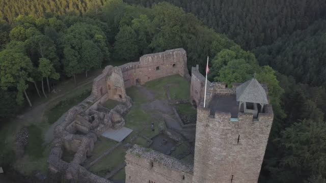 ruins of medieval castle wangenbourg aerial drone view, alsace, france - old ruin stock videos & royalty-free footage