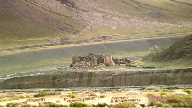 WS ZO Ruins of monastery in landscape, Shegar, Tibet