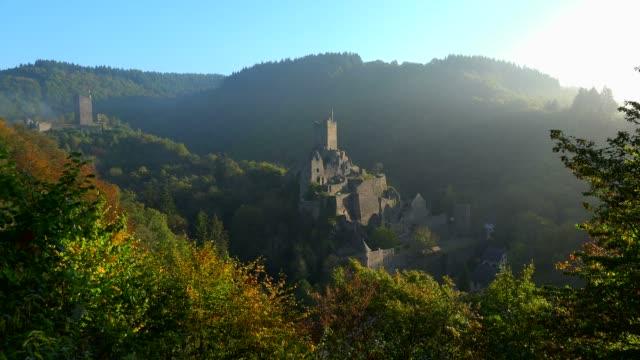 Ruins of Oberburg and Niederburg Castles, Manderscheid, Eifel, Rhineland-Palatinate, Germany, Europe