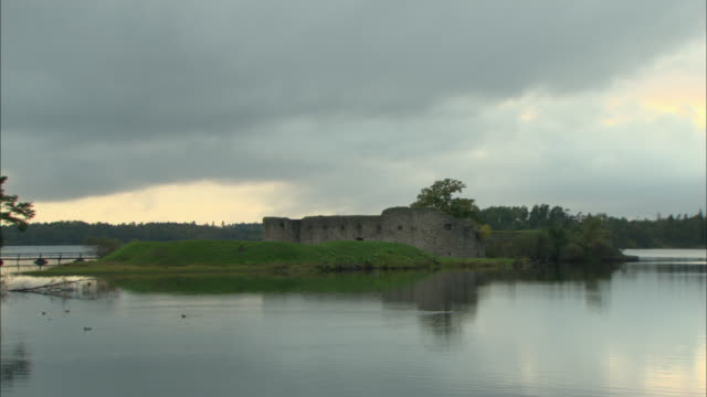 ws ruins of old castle under cloudy sky / vaxjo, sweden - vaxjo stock videos & royalty-free footage